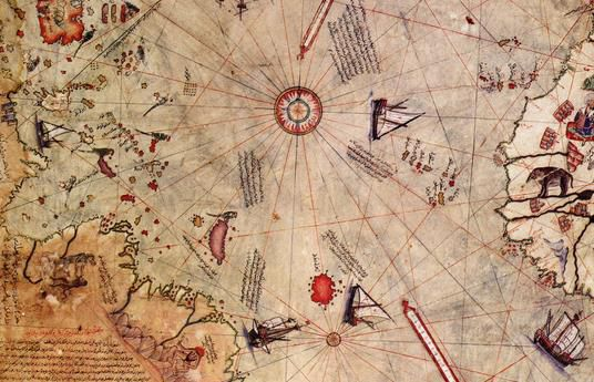 This is the map drawn in 1513 by Piri Reis, showing Antarctica