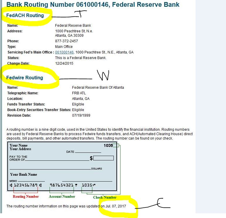 this is an example of a frb routing number screen notice the 1st highlight with a t this should say fedach if it is a valid routing number for setting up