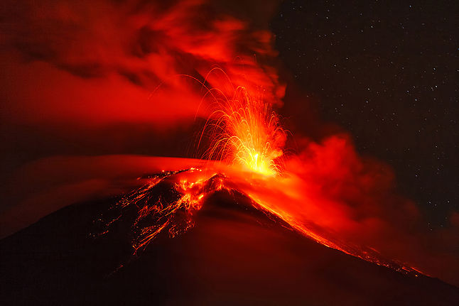 Long Exposure Of Tungurahua Volcano