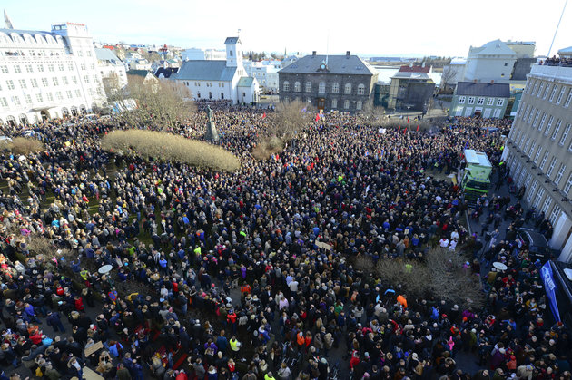 Stigtryggur Johannsson/Reuters Hordes of protestors gathered in front of Iceland's Parliament on Monday to demand his immediate resignation.