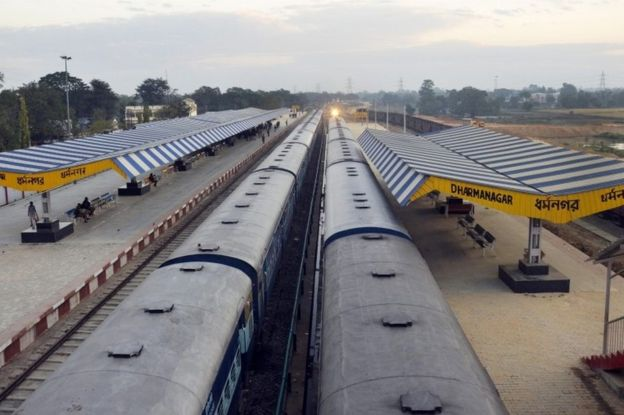 Train services have been disrupted in the north-eastern state of Tripura