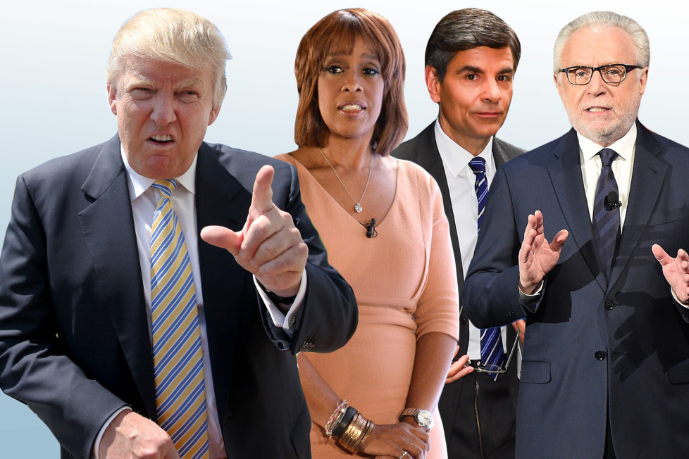 Donald Trump, Gayle King, George Stephanopoulos and Wolf Blitzer Photo: Getty Images (Composite)