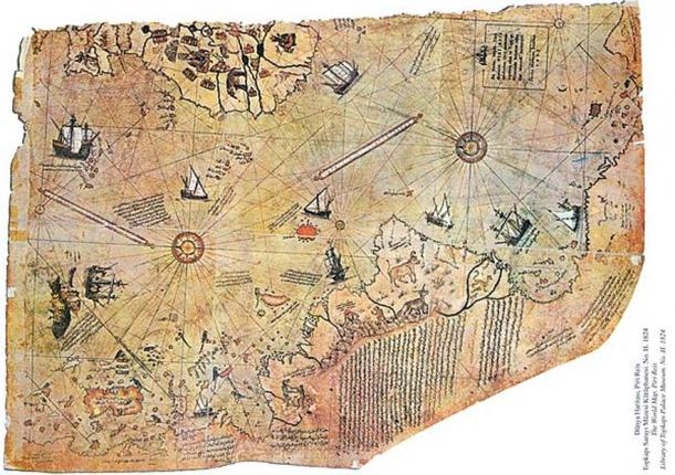 Map of the world by Ottoman admiral Piri Reis, drawn in 1513. (Public Domain)