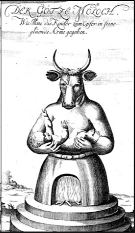 Classic Moloch illustration with baby