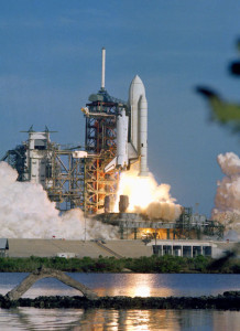 The launch of the first Shuttle flight , STS-1, in 1981 - STS-1.jpg