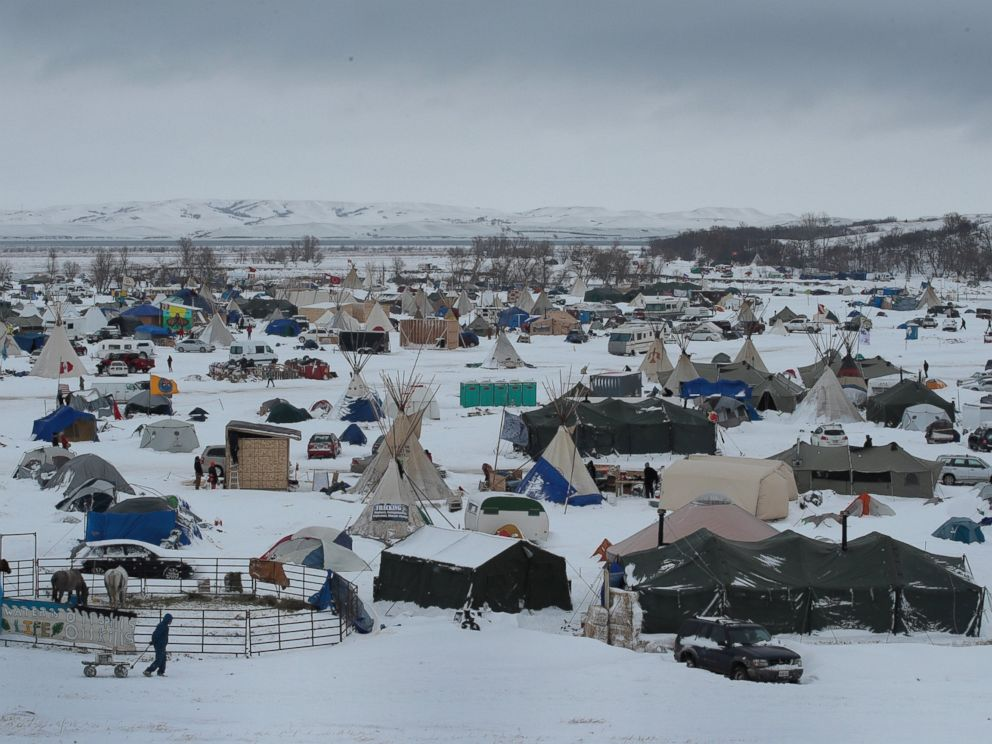 Snow covers Oceti Sakowin Camp near the Standing Rock Sioux Reservation on Nov. 30, 2016