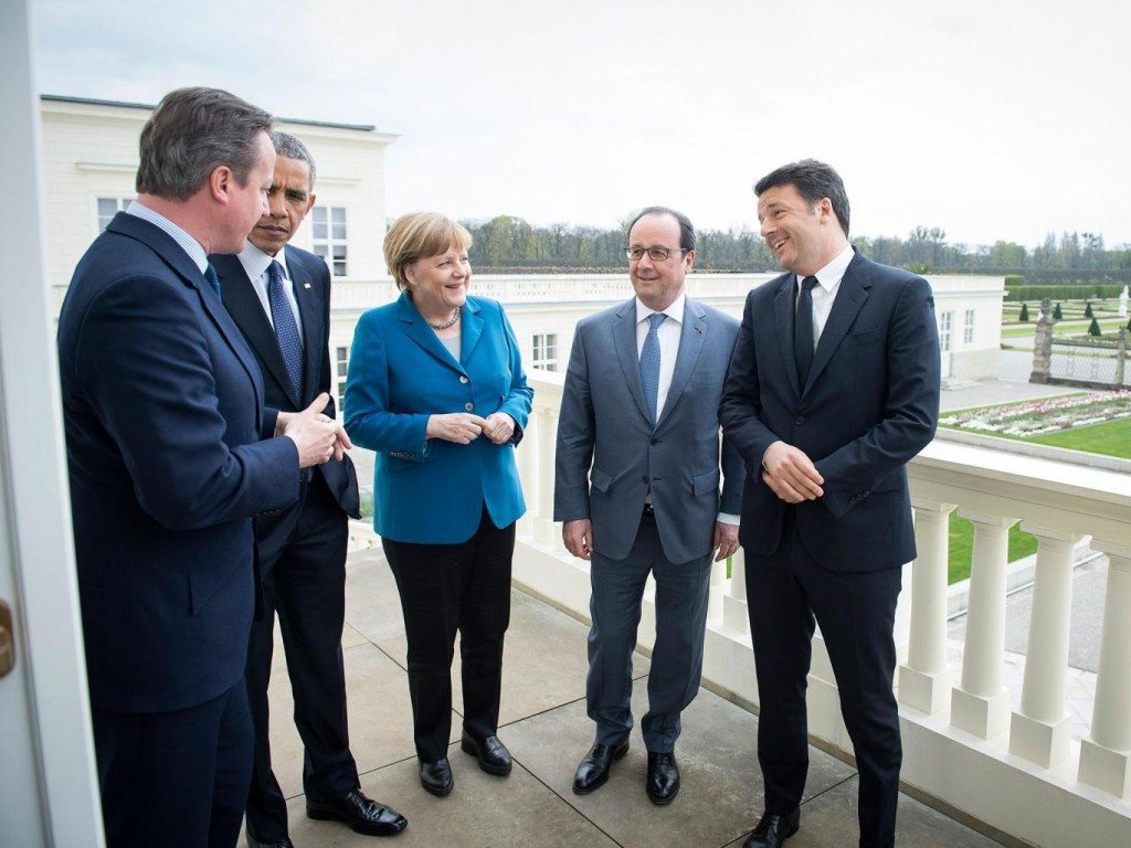 German Chancellor Angela Merkel greets leaders at the G5 summit in Hanover in April this year Getty Images