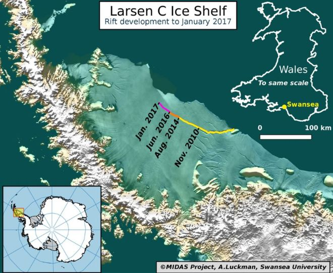A huge iceberg, a quarter the size of Wales, is poised to break off from the Larsen C ice shelf