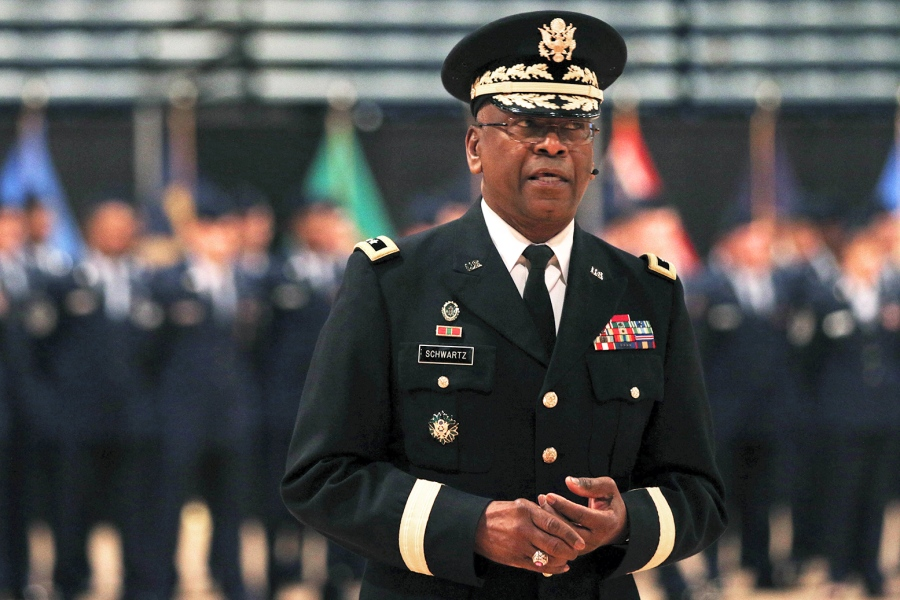 District Of Columbia National Guard Maj. Gen. Errol R. Schwartz speaks during an awards ceremony at Joint Force Headquarters, District of Columbia Armory on Dec. 6, 2015. Tyrone Williams/U.S. Army