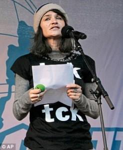 Helena Christensen addresses demonstrators in the center of Copenhagen on climate change