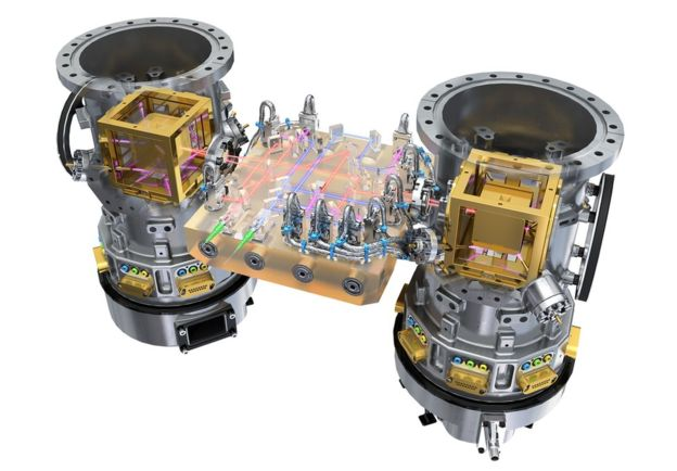 A cutaway impression of the laser interferometer system inside Lisa Pathfinder