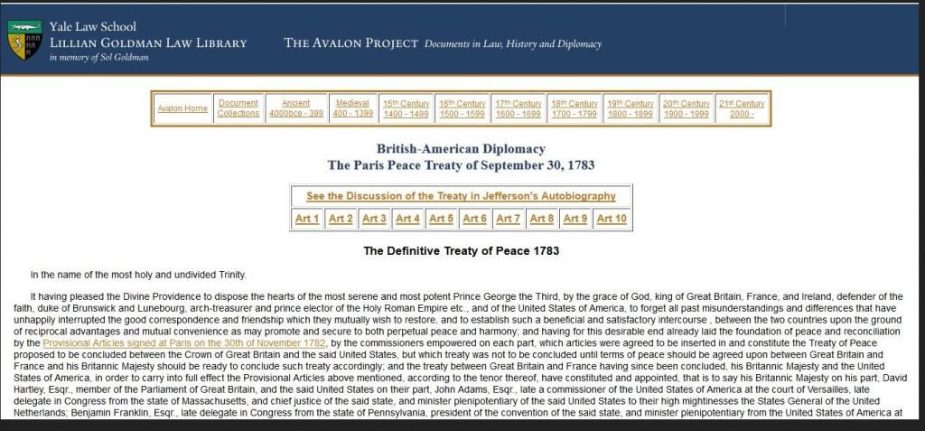 paris peace treaty 1783